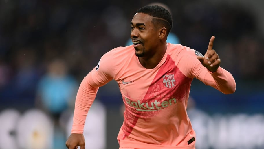Barcelona's Brazilian midfielder Malcom celebrates after opening the scoring during the UEFA Champions League group B football match Inter Milan vs Barcelona on November 6, 2018 at San Siro stadium in Milan. (Photo by Marco BERTORELLO / AFP)        (Photo credit should read MARCO BERTORELLO/AFP/Getty Images)