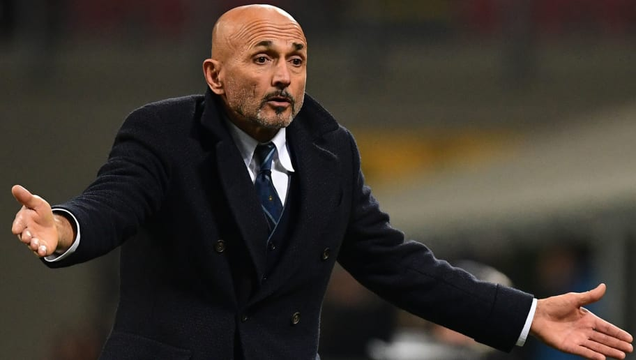 Inter Milan's head coach Luciano Spalletti reacts during the UEFA Champions League group B football match Inter Milan vs PSV Eindhoven on December 11, 2018 at the San Siro stadium in Milan. (Photo by Miguel MEDINA / AFP)        (Photo credit should read MIGUEL MEDINA/AFP/Getty Images)