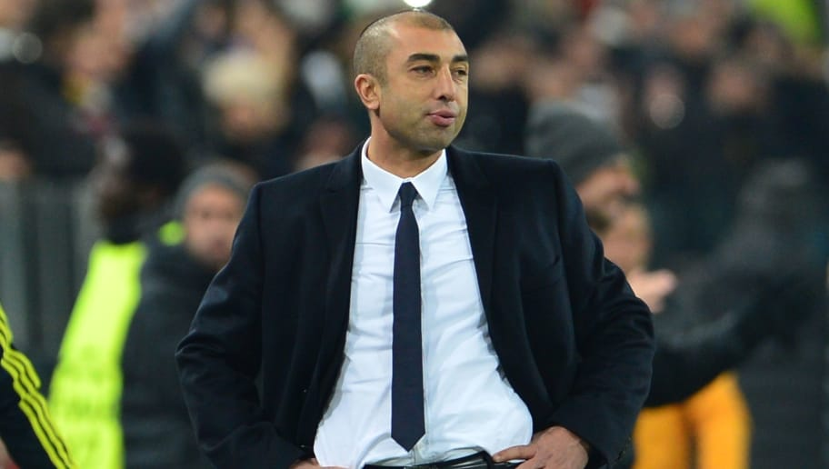 Chelsea Italian manager Roberto Di Matteo reacst during the Champions League football match between Juventus and Chelsea on November 20, 2012 in the stadium of Alps in Turin. Juventus won 3-0.      AFP PHOTO / GIUSEPPE CACACE        (Photo credit should read GIUSEPPE CACACE/AFP/Getty Images)