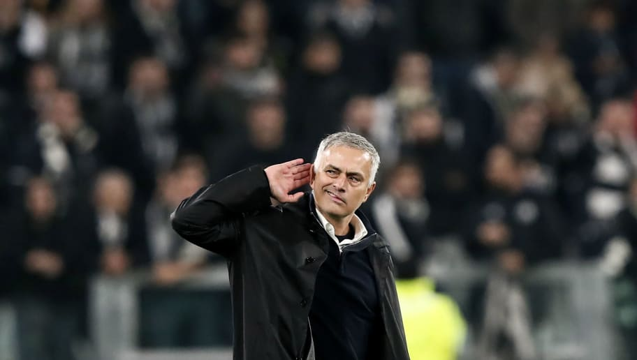 Manchester United's Portuguese manager Jose Mourinho gestures towards the public at the end of the UEFA Champions League group H football match Juventus vs Manchester United at the Allianz stadium in Turin on November 7, 2018. (Photo by Marco BERTORELLO / AFP)        (Photo credit should read MARCO BERTORELLO/AFP/Getty Images)