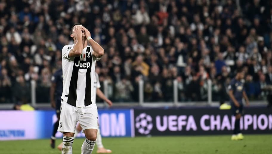 Juventus' Portuguese forward Cristiano Ronaldo reacts at the end of the UEFA Champions League group H football match Juventus vs Manchester United at the Allianz stadium in Turin on November 7, 2018. (Photo by Marco BERTORELLO / AFP)        (Photo credit should read MARCO BERTORELLO/AFP/Getty Images)