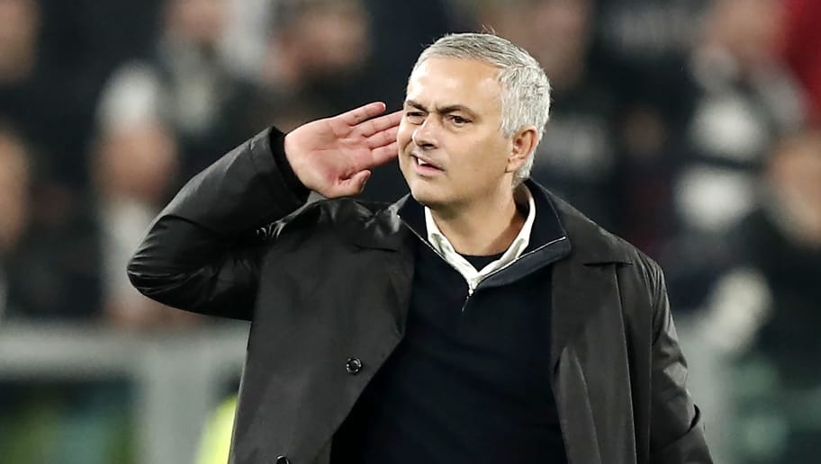 Manchester United's Portuguese manager Jose Mourinho gestures towards the public at the end of the UEFA Champions League group H football match Juventus vs Manchester United at the Allianz stadium in Turin on November 7, 2018. (Photo by Isabella BONOTTO / AFP)        (Photo credit should read ISABELLA BONOTTO/AFP/Getty Images)