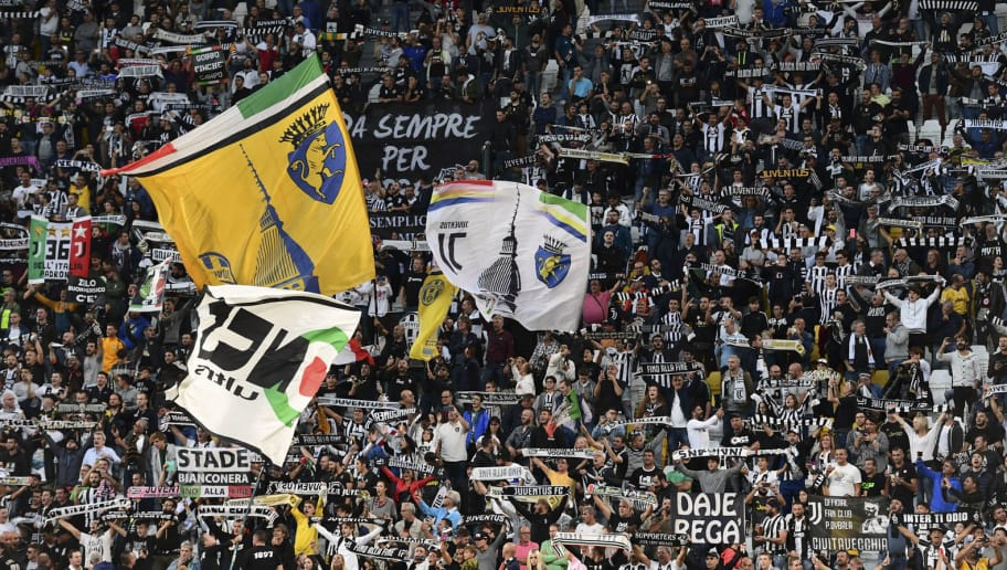 Juventus fans cheer prior to the UEFA Champions League group H football match between Juventus and Young Boys on October 2, 2018 at the Juventus stadium in Turin. (Photo by Miguel MEDINA / AFP) (Photo credit should read MIGUEL MEDINA/AFP/Getty Images)