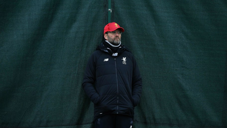 Liverpool's German manager Jurgen Klopp takes a training session prior to the UEFA Champions League round of sixteen second leg football match between Liverpool and FC Porto, at Melwood Training Ground in Liverpool, north west England on March 5, 2018. / AFP PHOTO / Anthony Devlin        (Photo credit should read ANTHONY DEVLIN/AFP/Getty Images)