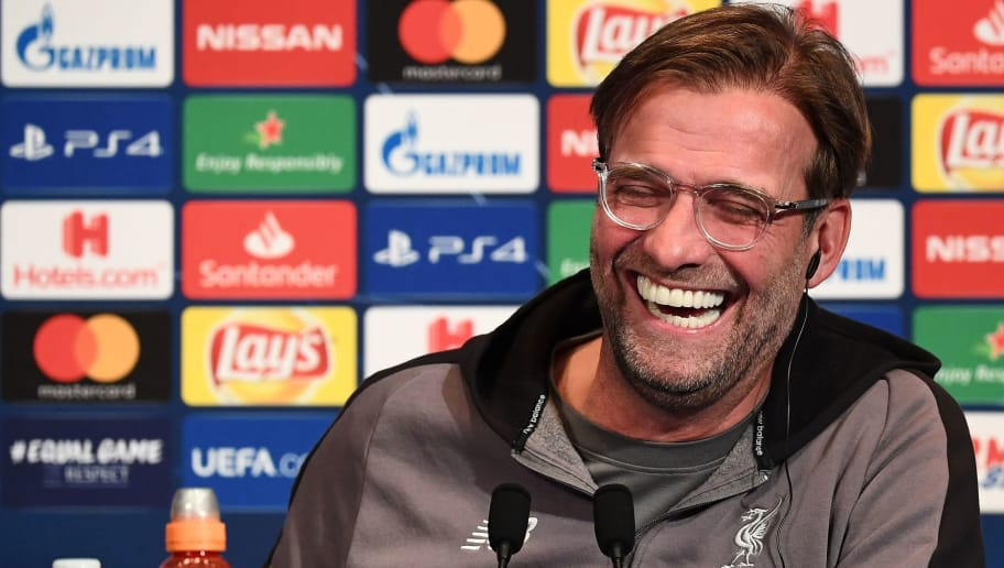 Liverpool's German head coach Jurgen Klopp laughs as he gives a press conference at the Parc des Princes stadium in Paris on November 27, 2018 on the eve of their Champions' League football match against Paris Saint-Germain (PSG). (Photo by FRANCK FIFE / AFP)        (Photo credit should read FRANCK FIFE/AFP/Getty Images)