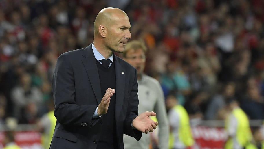 b01b9a361b30 Real Madrid's French coach Zinedine Zidane applauds during the UEFA  Champions League final football match between