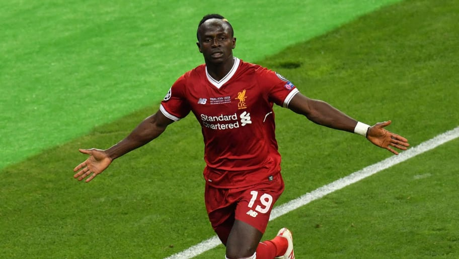 Liverpool's Senegalese midfielder Sadio Mane celebrates after scoring the 1-1 during the UEFA Champions League final football match between Liverpool and Real Madrid at the Olympic Stadium in Kiev, Ukraine on May 26, 2018. (Photo by Sergei SUPINSKY / AFP)        (Photo credit should read SERGEI SUPINSKY/AFP/Getty Images)