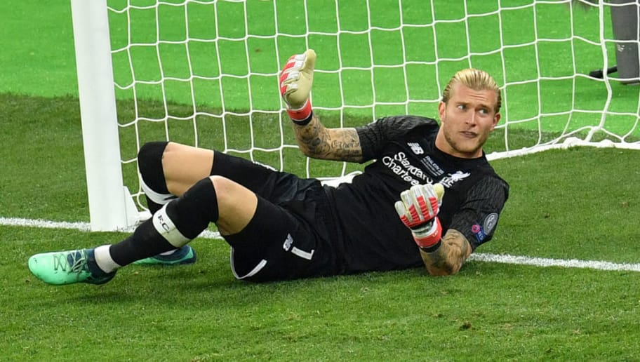 Liverpool's German goalkeeper Loris Karius lays in front of his goal during the UEFA Champions League final football match between Liverpool and Real Madrid at the Olympic Stadium in Kiev, Ukraine on May 26, 2018. (Photo by Sergei SUPINSKY / AFP)        (Photo credit should read SERGEI SUPINSKY/AFP/Getty Images)