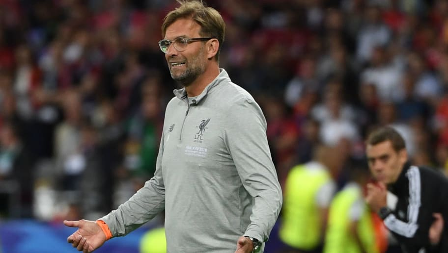 Liverpool's German manager Jurgen Klopp gestures on the touchline during the UEFA Champions League final football match between Liverpool and Real Madrid at the Olympic Stadium in Kiev, Ukraine on May 26, 2018. (Photo by Paul ELLIS / AFP)        (Photo credit should read PAUL ELLIS/AFP/Getty Images)