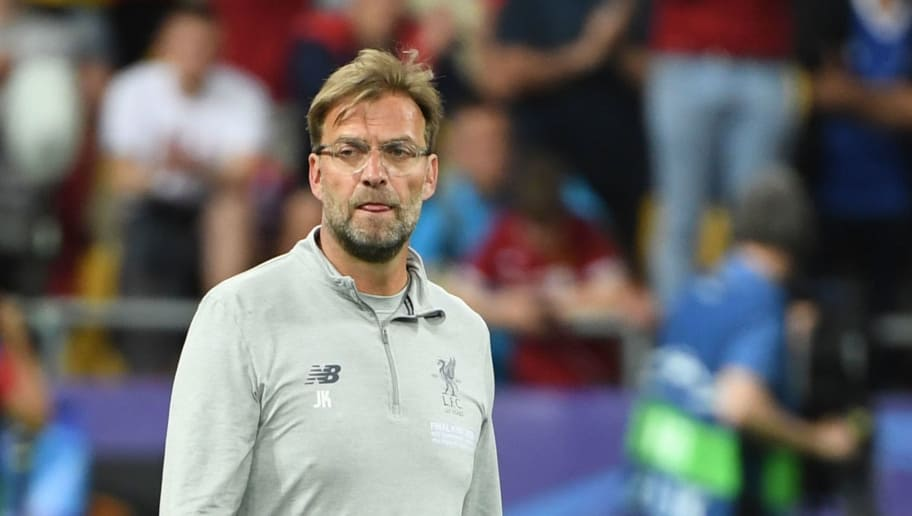 Liverpool's German manager Jurgen Klopp reacts on the pitch after the UEFA Champions League final football match between Liverpool and Real Madrid at the Olympic Stadium in Kiev, Ukraine on May 26, 2018. - Real Madrid defeated Liverpool 3-1. (Photo by Paul ELLIS / AFP)        (Photo credit should read PAUL ELLIS/AFP/Getty Images)
