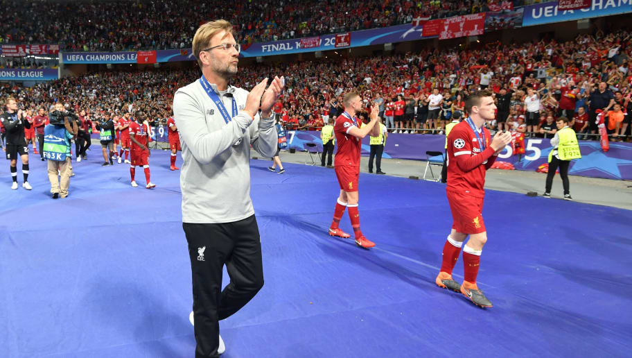 Liverpool's German manager Jurgen Klopp reacts after losing the UEFA Champions League final football match between Liverpool and Real Madrid at the Olympic Stadium in Kiev, Ukraine, on May 26, 2018. (Photo by GENYA SAVILOV / AFP)        (Photo credit should read GENYA SAVILOV/AFP/Getty Images)