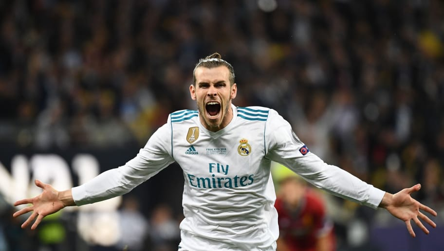 Real Madrid's Welsh forward Gareth Bale celebrates after scoring his team's second goal  during the UEFA Champions League final football match between Liverpool and Real Madrid at the Olympic Stadium in Kiev, Ukraine, on May 26, 2018. (Photo by FRANCK FIFE / AFP)        (Photo credit should read FRANCK FIFE/AFP/Getty Images)