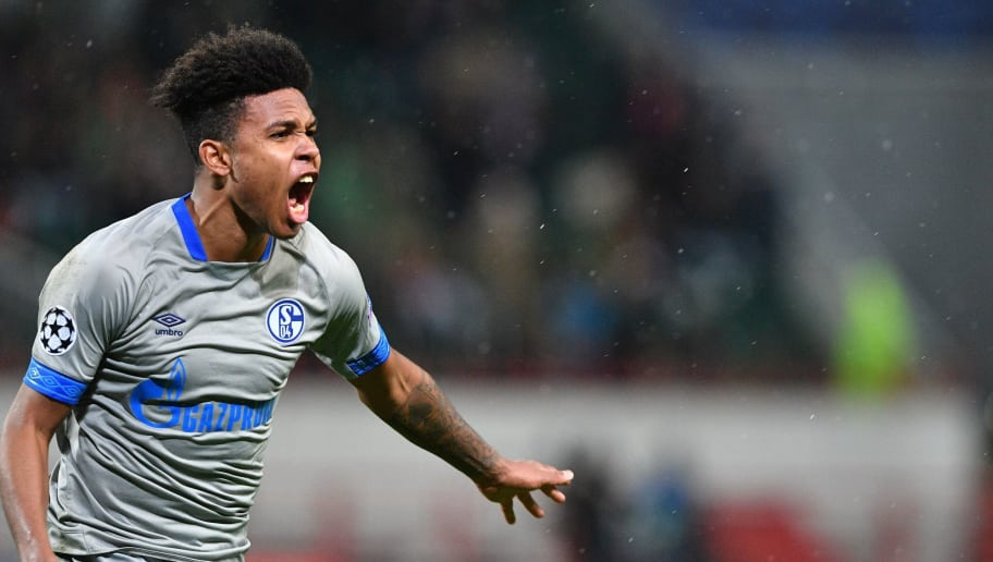 Schalke's US midfielder Weston McKennie celebrates after scoring a goal during the UEFA Champions League group D football match between FC Lokomotiv Moscow and FC Schalke 04 at the RZD Arena in Moscow on October 3, 2018. (Photo by Mladen ANTONOV / AFP)        (Photo credit should read MLADEN ANTONOV/AFP/Getty Images)