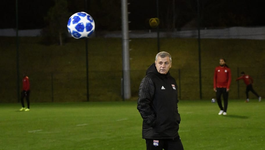 Lyon's French head coach Bruno Genesio takes part in a training session at The Parc Olympique Lyonnais stadium in Decines-Charpieu, central-eastern France on November 6, 2018, on the eve of the Champions League football match between Olympique Lyonnais (OL) and TSG 1899 Hoffenheim. (Photo by JEFF PACHOUD / AFP)        (Photo credit should read JEFF PACHOUD/AFP/Getty Images)