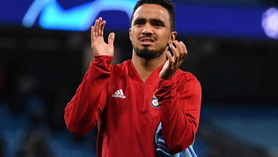Lyon's Brazilian defender Rafael da Silva gestures after the UEFA Champions League group F football match between Manchester City and Lyon at the Etihad Stadium in Manchester, north west England, on September 19, 2018. (Photo by Paul ELLIS / AFP)        (Photo credit should read PAUL ELLIS/AFP/Getty Images)