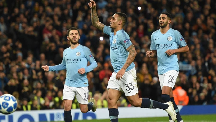 Manchester City's Brazilian striker Gabriel Jesus celebrates after scoring their fourth goal from the penalty spot during a UEFA Champions League group F football match between Manchester City and Shakhtar Donetsk at the Etihad stadium in Manchester, northwest England on November 7, 2018. (Photo by Oli SCARFF / AFP)        (Photo credit should read OLI SCARFF/AFP/Getty Images)
