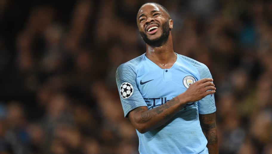 Manchester City's English midfielder Raheem Sterling reacts after missing a shot during a UEFA Champions League group F football match between Manchester City and Shakhtar Donetsk at the Etihad stadium in Manchester, northwest England on November 7, 2018. (Photo by Oli SCARFF / AFP)        (Photo credit should read OLI SCARFF/AFP/Getty Images)