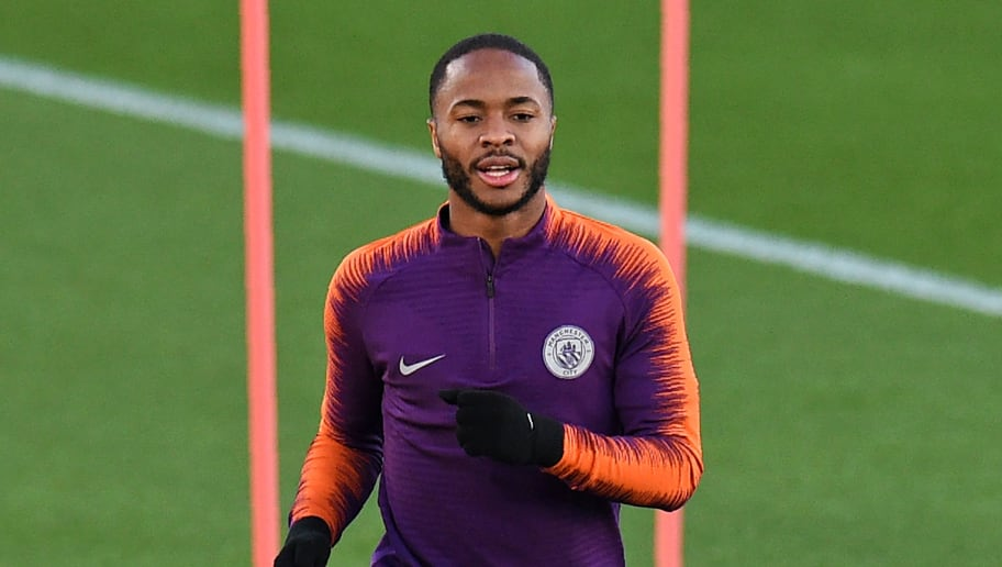 Manchester City's English midfielder Raheem Sterling takes part in a team training session at City Football Academy in Manchester, north west England on November 6, 2018 on the eve of their UEFA Champions League Group F football match against Shakhtar Donetsk. (Photo by Oli SCARFF / AFP)        (Photo credit should read OLI SCARFF/AFP/Getty Images)