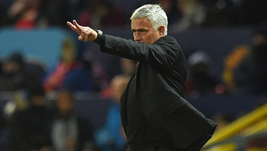 Manchester United's Portuguese manager Jose Mourinho gestures on the touchline during the Champions League group H football match between Manchester United and Juventus at Old Trafford in Manchester, north west England, on October 23, 2018. (Photo by Oli SCARFF / AFP)        (Photo credit should read OLI SCARFF/AFP/Getty Images)