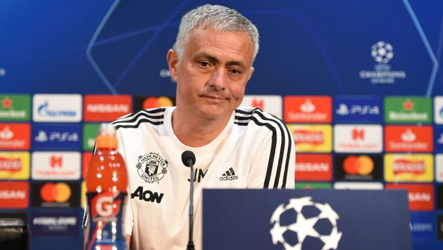 Manchester United's Portuguese manager Jose Mourinho gives a press conference at Old Trafford in Manchester, north west England on October 22, 2018, ahead of their UEFA Champions League group H football match against Juventus on October 23. (Photo by Oli SCARFF / AFP)        (Photo credit should read OLI SCARFF/AFP/Getty Images)