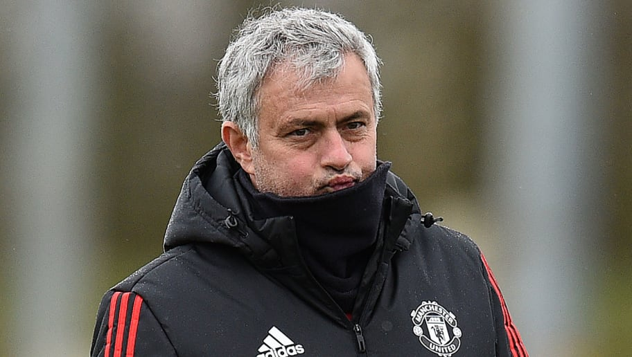 Manchester United's Portuguese manager Jose Mourinho takes a team training session at the club's training complex near Carrington, west of Manchester in north west England on March 12, 2018, on the eve of their UEFA Champions League round of 16 second-leg football match against Sevilla. / AFP PHOTO / Oli SCARFF        (Photo credit should read OLI SCARFF/AFP/Getty Images)
