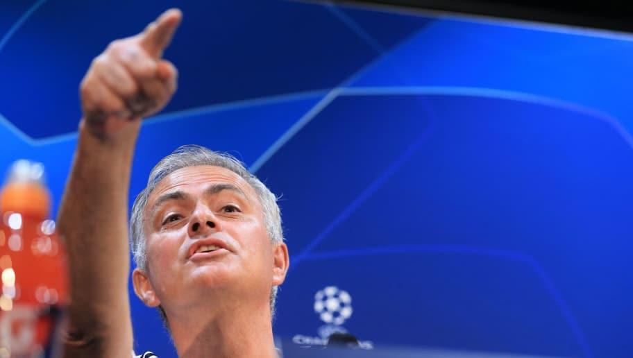 Manchester United's Portuguese manager Jose Mourinho attends a press conference at Old Trafford stadium in Manchester, north west England on October 1, 2018, ahead of their Champions League group H football match against Valencia on October 2. (Photo by Lindsey Parnaby / AFP)        (Photo credit should read LINDSEY PARNABY/AFP/Getty Images)