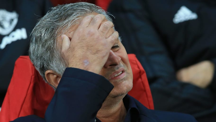 Manchester United's Portuguese manager Jose Mourinho reacts ahead of the Champions League group H football match between Manchester United and Valencia at Old Trafford in Manchester, north west England, on October 2, 2018. (Photo by Lindsey PARNABY / AFP)        (Photo credit should read LINDSEY PARNABY/AFP/Getty Images)