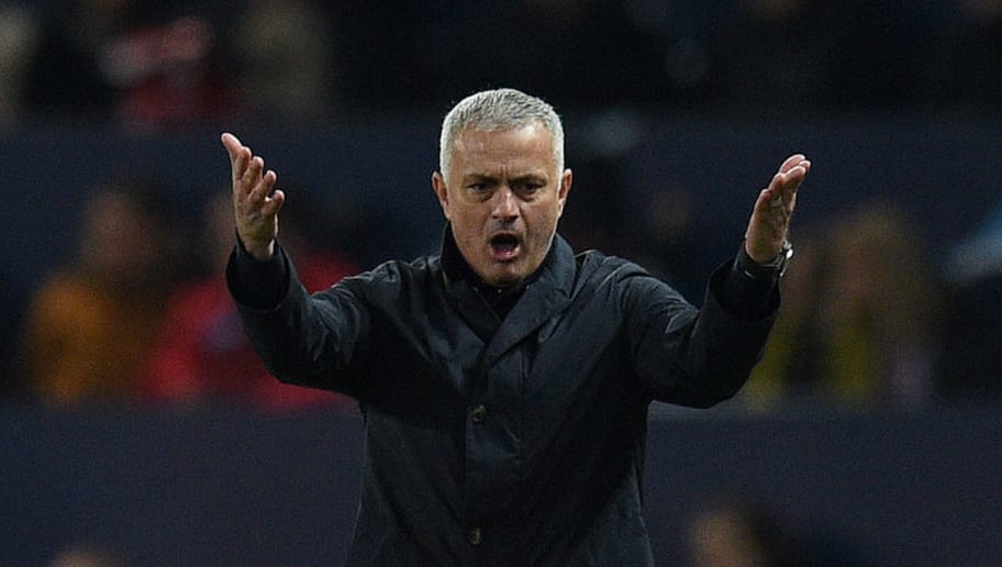 Manchester United's Portuguese manager Jose Mourinho reacts during the UEFA Champions League group H football match between Manchester United and Young Boys at Old Trafford in Manchester, north-west England on November 27, 2018. (Photo by Oli SCARFF / AFP)        (Photo credit should read OLI SCARFF/AFP/Getty Images)