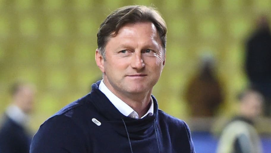 Leipzig's Austrian head-coach Ralph Hasenhuttl applauds and celebrates at the end of the UEFA Champions League group G football match between Monaco and Leipzig at the Louis II stadium, in Monaco, on November 21, 2017. / AFP PHOTO / Bertrand LANGLOIS        (Photo credit should read BERTRAND LANGLOIS/AFP/Getty Images)