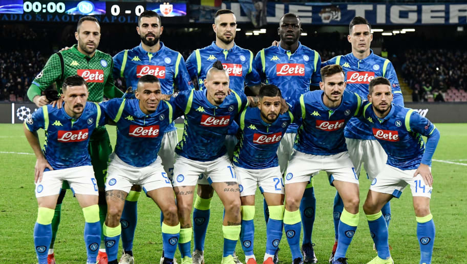 (From L, Front) Napoli's Portuguese defender Mario Rui, Napoli's Brazilian midfielder Allan, Napoli's Slovak midfielder Marek Hamsik, Napoli's Italian forward Lorenzo Insigne, Napoli's Spanish midfielder Fabian Ruiz and Napoli's Belgian forward Dries Mertens and (From L, Rear) Napoli's Colombian goalkeeper David Ospina, Napoli's Spanish defender Raul Albiol, Napoli's Serbian defender Nikola Maksimovic, Napoli's Senegalese defender Kalidou Koulibaly and Napoli's Spanish forward Jose Callejon pose for a team photo prior to the UEFA Champions League group C football match Napoli vs Red Star Belgrade on November 28, 2018 at the San Paolo stadium in Naples. (Photo by Filippo MONTEFORTE / AFP)        (Photo credit should read FILIPPO MONTEFORTE/AFP/Getty Images)