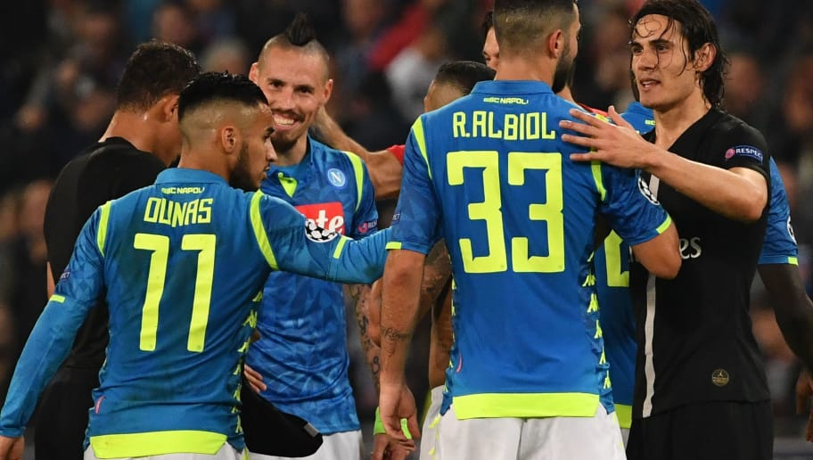 Napoli's Colombian goalkeeper David Ospina (R) speaks with Napoli's Spanish defender Raul Albiol at the end of the European Champions League football match Napoli vs Paris Saint-Germain (PSG) on November 6, 2018 at San Paolo stadium in Naples. (Photo by Alberto PIZZOLI / AFP)        (Photo credit should read ALBERTO PIZZOLI/AFP/Getty Images)