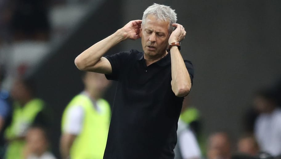 Nice's Swiss coach Lucien Favre reacts after the UEFA Champions League play-off football match between Nice and Napoli at the Allianz Riviera stadium in Nice, southeastern France, on August 22, 2017. / AFP PHOTO / VALERY HACHE        (Photo credit should read VALERY HACHE/AFP/Getty Images)
