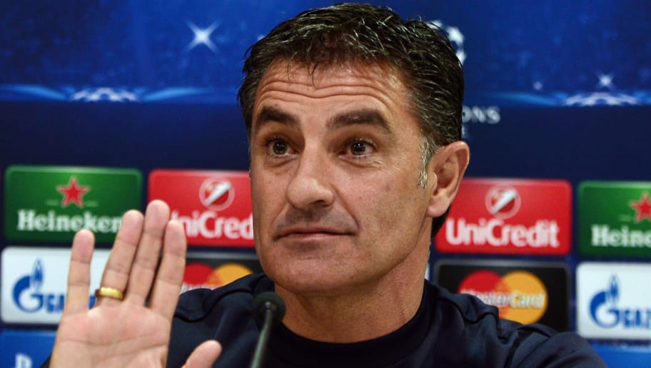 Olympiakos' Spanish coach Michel speaks during a press conference on the eve on the group A Champions League football match Olympiakos vs Malmo at the Karaiskaki stadium in Piraeus near Athens on December 8, 2014. AFP PHOTO/ LOUISA GOULIAMAKI        (Photo credit should read LOUISA GOULIAMAKI/AFP/Getty Images)