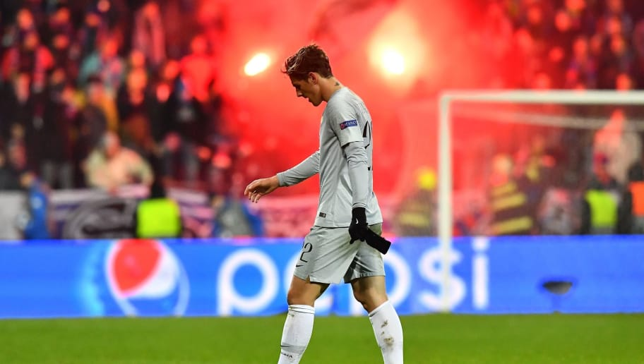 Roma's Italian midfielder Nicolo Zaniolo walks on the pitch after the UEFA Champions League group G football match between FC Victoria Plzen and AS Roma in Plzen, on December 12, 2018. (Photo by JOE KLAMAR / AFP)        (Photo credit should read JOE KLAMAR/AFP/Getty Images)