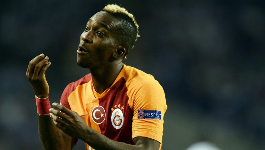 Galatasaray's Nigerian forward Henry Onyekuru gestures during the UEFA Champions League group D football match between FC Porto and Galatasaray SK at the Dragao stadium in Porto on October 3, 2018. (Photo by MIGUEL RIOPA / AFP)        (Photo credit should read MIGUEL RIOPA/AFP/Getty Images)