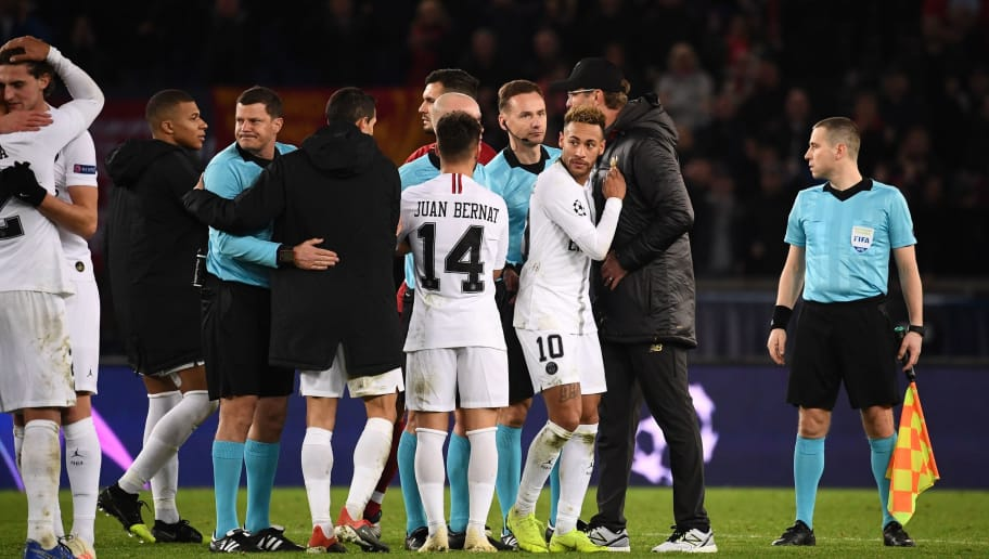 Paris Saint-Germain's Brazilian forward Neymar is congratulated by Liverpool's German coach Jurgen Klopp at the end of the UEFA Champions League Group C football match between Paris Saint-Germain (PSG) and Liverpool FC at the Parc des Princes stadium, in Paris, on November 28, 2018. (Photo by FRANCK FIFE / AFP)        (Photo credit should read FRANCK FIFE/AFP/Getty Images)