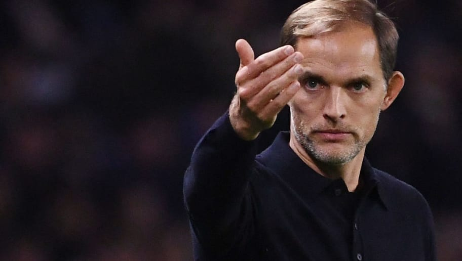 Paris Saint-Germain's German coach Thomas Tuchel reacts during the UEFA Champions League Group C football match between Paris Saint-Germain and SSC Napoli at the Parc des Princes stadium, in Paris, on October 24, 2018. (Photo by Anne-Christine POUJOULAT / AFP)        (Photo credit should read ANNE-CHRISTINE POUJOULAT/AFP/Getty Images)