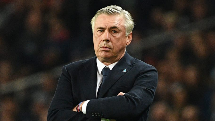 Napoli's Italian coach Carlo Ancelotti reacts during the UEFA Champions League Group C football match between Paris Saint-Germain and SSC Napoli at the Parc des Princes stadium, in Paris, on October 24, 2018. (Photo by FRANCK FIFE / AFP)        (Photo credit should read FRANCK FIFE/AFP/Getty Images)