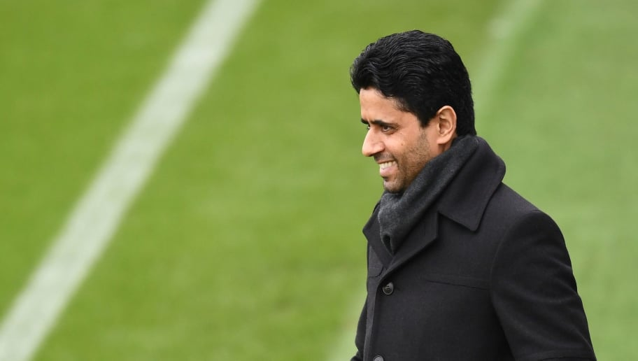 Paris Saint-Germain's Qatari president Nasser Al-Khelaïfi watches a training session on March 5, 2018 at the Ooredoo training center in Saint-Germain-en-Laye, west of Paris, on the eve of their Champions' League football match against Real Madrid CF.  / AFP PHOTO / FRANCK FIFE        (Photo credit should read FRANCK FIFE/AFP/Getty Images)
