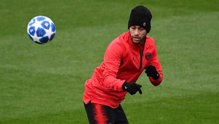 Paris Saint-Germain's Brazilian forward Neymar plays the ball during a training session in Saint-Germain-en-Laye, west of Paris, on November 27, 2018, on the eve of their UEFA Champions League Group C football match against Liverpool. (Photo by FRANCK FIFE / AFP)        (Photo credit should read FRANCK FIFE/AFP/Getty Images)