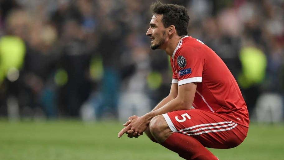 Bayern Munich's German defender Mats Hummels reacts after the UEFA Champions League semi-final second-leg football match Real Madrid CF vs FC Bayern Munich in Madrid, Spain, on May 1, 2018. (Photo by GABRIEL BOUYS / AFP)        (Photo credit should read GABRIEL BOUYS/AFP/Getty Images)