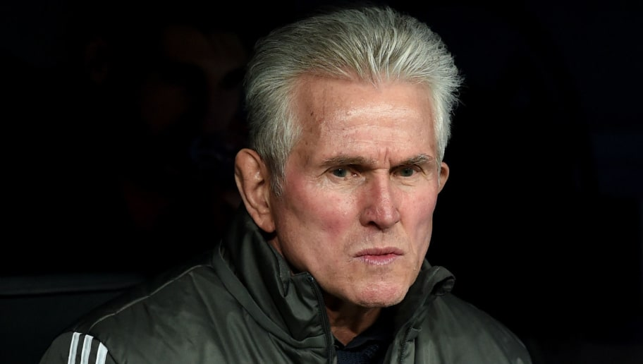 Bayern Munich's headcoach Jupp Heynckes looks on prior to the UEFA Champions League semi-final second-leg football match Real Madrid CF vs FC Bayern Munich in Madrid, Spain, on May 1, 2018. (Photo by Christof STACHE / AFP)        (Photo credit should read CHRISTOF STACHE/AFP/Getty Images)