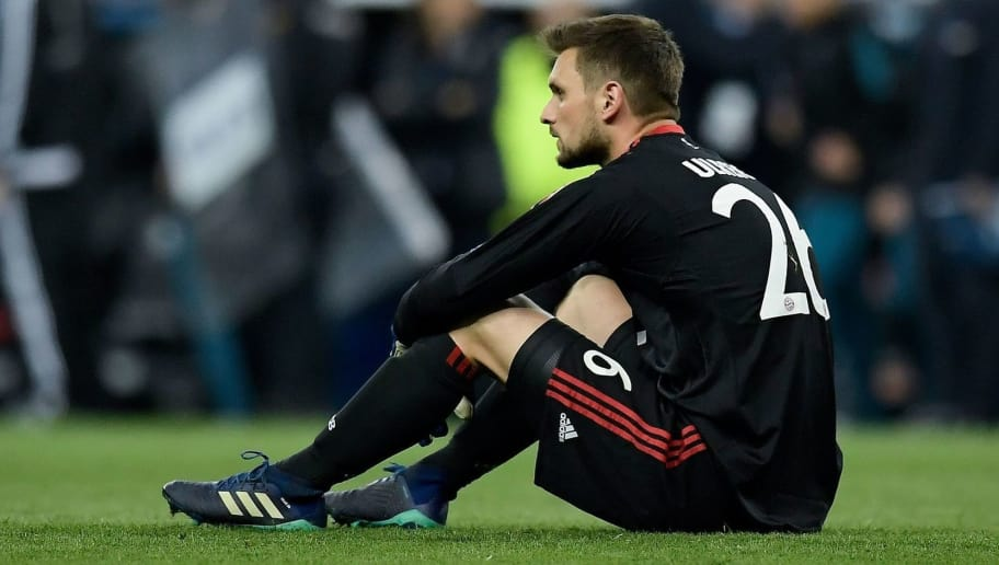Bayern Munich's German goalkeeper Sven Ulreich reacts at the end of the UEFA Champions League semi-final second leg football match between Real Madrid and Bayern Munich at the Santiago Bernabeu Stadium in Madrid on May 1, 2018. (Photo by OSCAR DEL POZO / AFP)        (Photo credit should read OSCAR DEL POZO/AFP/Getty Images)