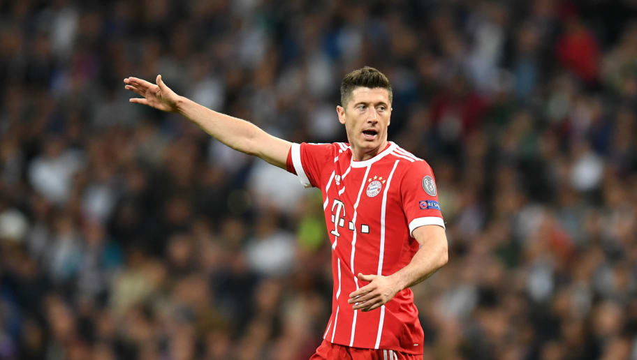 Bayern Munich's Polish striker Robert Lewandowski gestures during the UEFA Champions League semi-final second-leg football match Real Madrid CF vs FC Bayern Munich in Madrid, Spain, on May 1, 2018. (Photo by Christof STACHE / AFP)        (Photo credit should read CHRISTOF STACHE/AFP/Getty Images)