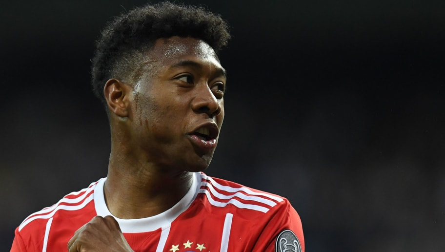 Bayern Munich's Austrian defender David Alaba gestures during the UEFA Champions League semi-final second-leg football match Real Madrid CF vs FC Bayern Munich in Madrid, Spain, on May 1, 2018. (Photo by Christof STACHE / AFP)        (Photo credit should read CHRISTOF STACHE/AFP/Getty Images)