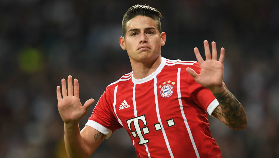 Bayern Munich's Colombian midfielder James Rodriguez celebrates scoring during the UEFA Champions League semi-final second-leg football match Real Madrid CF vs FC Bayern Munich in Madrid, Spain, on May 1, 2018. (Photo by Christof STACHE / AFP)        (Photo credit should read CHRISTOF STACHE/AFP/Getty Images)