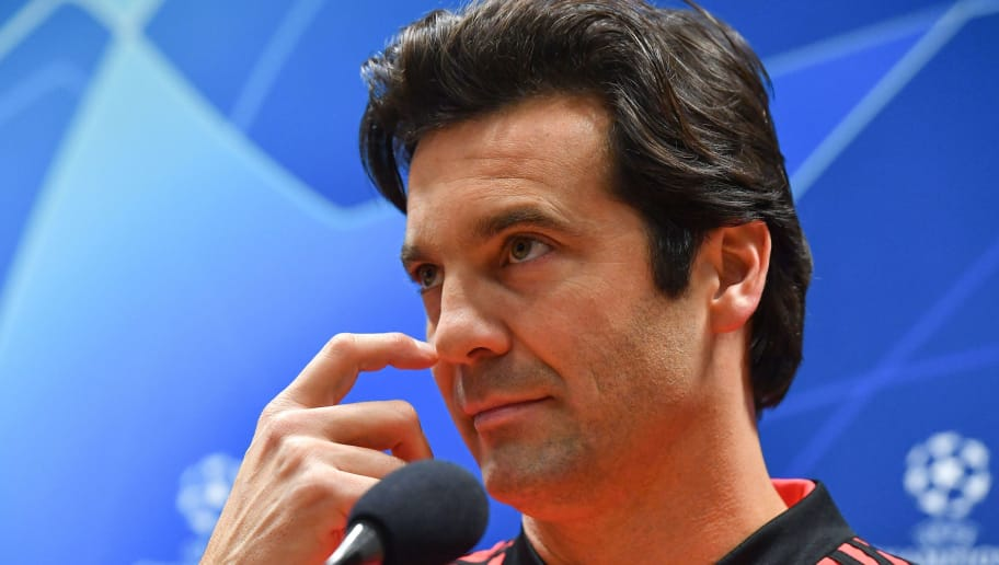 Real Madrid's Argentinian coach Santiago Solari addresses a press conference on the eve of the UEFA Champions League group G football match Viktoria Plzen v Real Madrid in Plzen, Czech Republic on November 6, 2018. (Photo by JOE KLAMAR / AFP)        (Photo credit should read JOE KLAMAR/AFP/Getty Images)