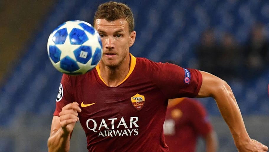 AS Rome's Bosnian forward Edin Dzeko controls the ball during the UEFA Champions League group G football match between AS Roma and FC Viktoria Plzen on October 2, 2018 at the Olympic stadium in Rome. (Photo by Andreas SOLARO / AFP)        (Photo credit should read ANDREAS SOLARO/AFP/Getty Images)