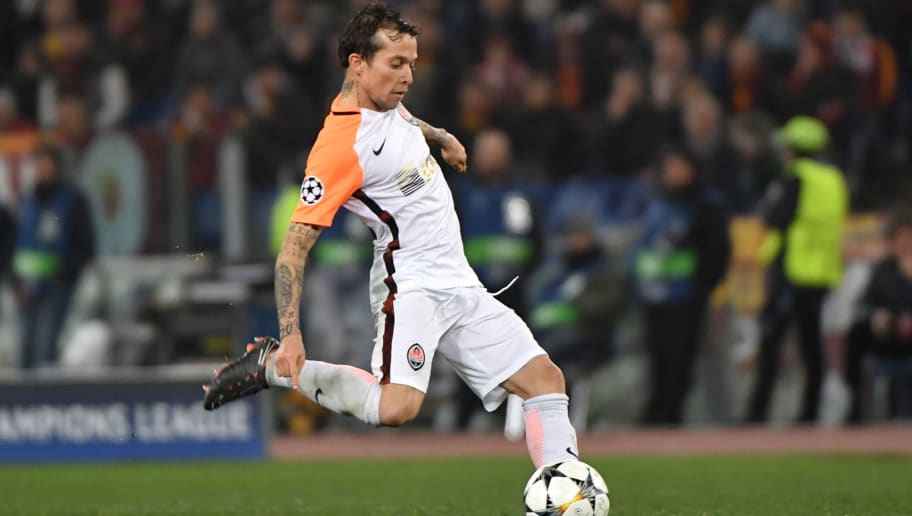 Shakhtar Donetsk's Brazilian midfielder Bernard kicks the ball the UEFA Champions League round of 16 second leg football match AS Roma vs Shakhtar Donetsk on March 13, 2018 at the Olympic stadium in Rome.  Roma reached the Champions League quarter-finals for the first time in 10 years as Edin Dzeko edged them past Shakhtar Donetsk 1-0 at the Stadio Olimpico on Tuesday for an away goals victory. / AFP PHOTO / Andreas SOLARO        (Photo credit should read ANDREAS SOLARO/AFP/Getty Images)
