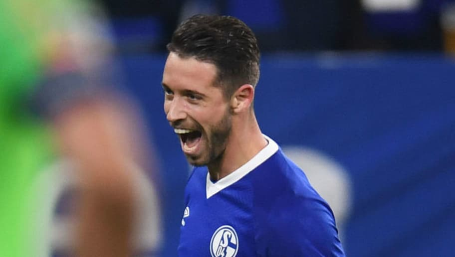 Schalke's German midfielder Mark Uth celebrates scoring his team's second goal  during the UEFA Champions League group D football match FC Schalke 04 v Galatasaray in Gelsenkirchen, western Germany, on November 6, 2018. (Photo by Patrik STOLLARZ / AFP)        (Photo credit should read PATRIK STOLLARZ/AFP/Getty Images)